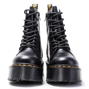 Женщины Мартин сапоги голеностопного Обувь из натуральной кожи Ботильоны Flat платформы обувь женщина Коренастый мотоцикла Combat Boots Q-440
