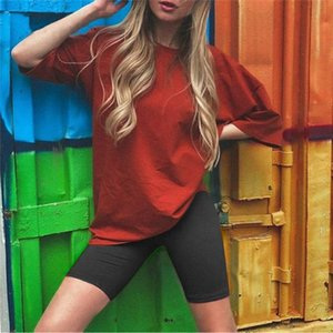 Women Clothes 2 Two Piece Set Solid Color Sports Biker Shorts Outfits 2020 Casual Short Sleeve Short Pants