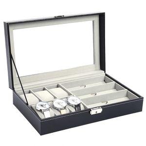 12 Griglie Orologio Vetrine Custodia in pelle PU Cassa di orologio Orologio da polso Scatole portagioie Custodia Display regalo migliore