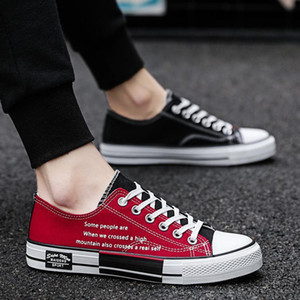 2019 New Canvas Shoes Youth Black and Red Shoes, for Couple Mens Womens Leisure Shoes Students Daily Dress Rubber Soft Sole
