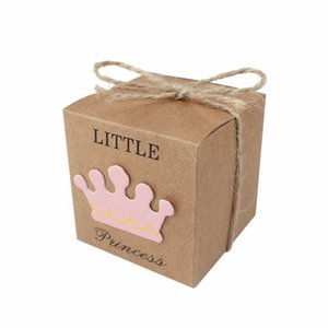 50pcs Baby Shower Candy Box Little Prince Little Princess Crown Kraft Boxes Blue Pink Candy Box for Girl Boy Birthday Favors Box