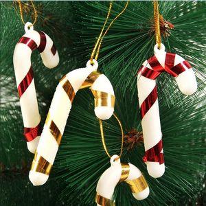 لوازم عيد الميلاد الديكور شجرة الأحمر البلاستيك الأبيض الحلوى الصغيرة قصب قلادة عيد الميلاد جو الديكور الحزب احتفالية