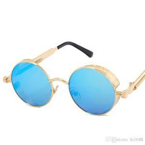 High Quality UV400 Gothic Steampunk Mens Sunglasses Coating Mirrored Sunglasses Round Circle Sun glasses Retro Vintage Gafas Masculino Sol