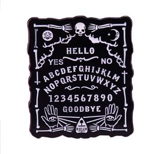Ouija tablero de pin de esmalte de terror espeluznante de Halloween pagana Wicca oculta en la decoración