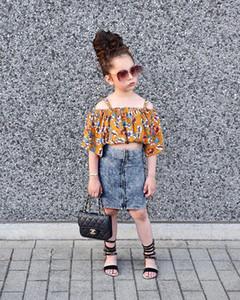 Mädchen Prinzessin Outfits Kinder mit Blumenmuster Tau Schulter Bluse + Reißverschluss Jeansrock 2pcs Sätze 2020 Sommer neue Kinder Kleidung J2203