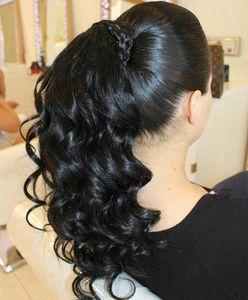 140g longue onduleux Ponytail postiche Drawstring clip Raw Virgin Remy en vrac Vague Ponytail Extension de cheveux