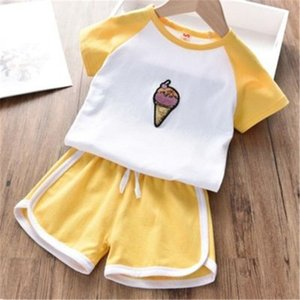 The New Summer Suit For Girls Korean Version For Girls T Shirt And Shorts Two Pieces Short Sleeved Suit For Children