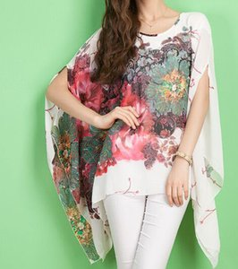 Blusas Feminino 새로운 여름 캐주얼 패션 꽃 여성 숙녀 섹시한 Batwing 슬리브 시폰 꽃 프린트 블라우스 탑스