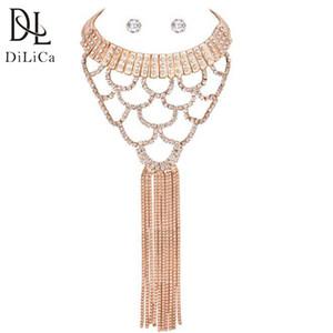 Venta al por mayor Gorgeous Rhinestone Choker Necklace Earrings Set joyería de la mujer establece la borla larga collar llamativo colgante
