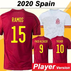 2020 İspanya Player Versiyon A.INIESTA Sergio Ramos Erkekler Futbol Formalar ISCO DIEGO COSTA Deplasman Futbol Gömlek THIAGO ASENSIO PİKE Üniforma