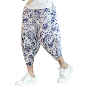 2019 verano hombres imprimir pantalones de playa para hombre longitud de la pantorrilla lino pantalones harén hombres pantalones de pierna ancha masculinos Bloomers Punk Hip Hop chándal