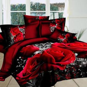 MeterMall 4 PCS 3D Big Red Rose Floral Bedding Sets Wedding Duvet Cover Sheet Pillow Cases Bed Set
