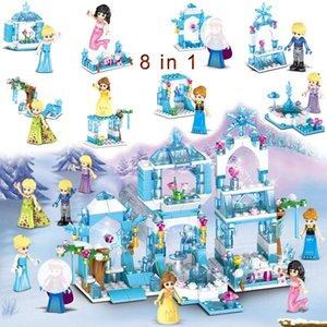 8 dans 1 Modèle Château Princesse Kristoff Sirène Ariel Building Block jouet pour fille enfants cadeau