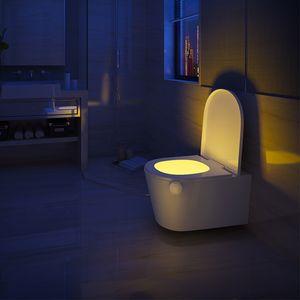 LED استشعار الحركة مرحاض ليلة ضوء 7 ألوان للتغيير الذكية الاستشعار بالجسم التلقائي مصباح حمام ماء بقيادة مصباح