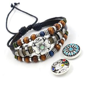 Tasti intercambiabili Charms NOOSA Snap catena in pelle Bracciale fai da te braccialetti Retro Tessuti a mano monili in rilievo del braccialetto di Snap