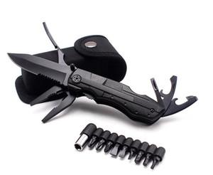 Cuchillo plegable de supervivencia al aire libre multiusos alicates de bolsillo que acampa de caza del kit del destornillador bits Botella herramienta de mano táctico abridor hx005