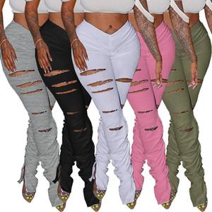 las mujeres agujero rasgado dividida plisada pantalones acampanados apilados polainas sólidos de moda pantalones de chándal de color deportivos corredores pantalones casuales para mujer de la ropa