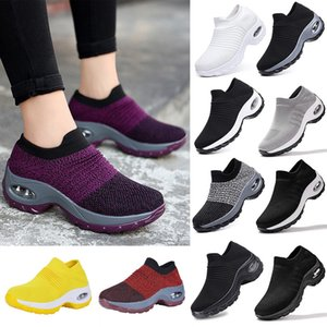 vertvie Women Platform Shoes Casual Shoes Lace Up Breathable Wedge Sneakers Deportivas Mujer Black Trainers Knitting Shoes Women