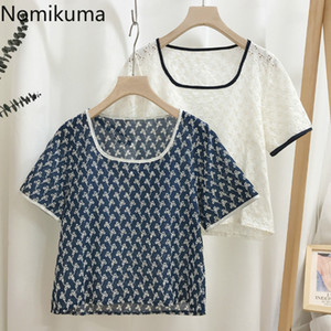 Nomikuma Flower Embroidery Vintage Shirts Hollow Out Short Sleeve Blouse Women Contrast Color Elegant Tops Blusas Mujer 3b805