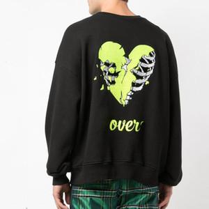 19FW AM1R1 Crewneck cráneo roto corazón bordado casual suéter de la manera de la calle mujeres de los hombres suéter de manga larga HFYMWY336