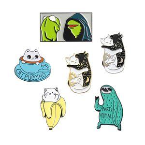 Rana perezoso gato esmalte Pin de dibujos animados lindo animal broche colección Metal solapa Pin insignia broches para mujeres hombres joyería regalos