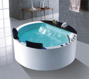 1500mm Round Whirlpool Surf Bathtub Acrylic Hydromassage Colourful LED Lights Big Waterfall Double People Tub NS1106