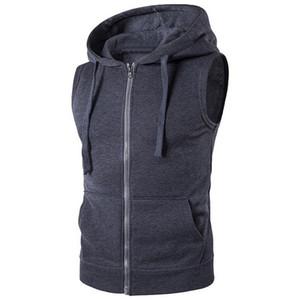 Mens Vest Moda Solid senza maniche con cappuccio Cardigan Jacket molla di autunno Zipper Pockets Maschio maglia casuale Gilet Tops
