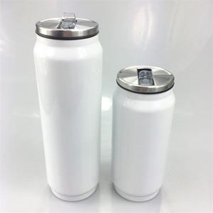 Sublimation Can Blank White Getränkeschalen-Edelstahl-Dosen DIY Vacuum Tumbler mit Deckel Trinkflaschen A03