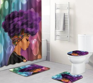 NOVITÀ Bathroom Set Tappeto Shower Curtain Donna Africana Copriwater bagno antiscivolo tappeto e Shower Curtain
