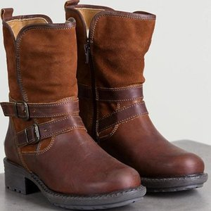 BLWBYL Bottes de motard Chaussures Femme imperméable Boucle Rodéo Western Zipper Comfy talon bas Mode Bottes moto