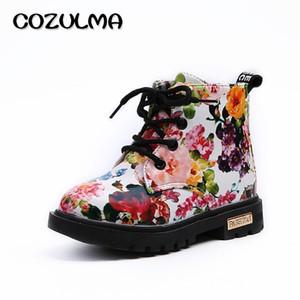 Kızlar Boys Için Cozulma Zarif Çiçek Çiçek Baskı Çocuk Ayakkabı Bebek Yürüyor Martin Çizmeler Çocuklar Sneakers Y190525
