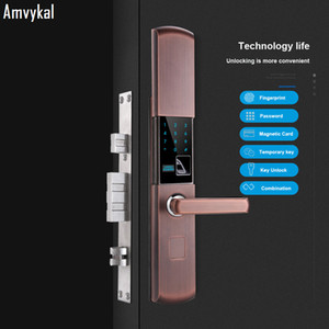 Amvykal Semiconductor Fingerprint APP Remote Password Lock Security Door Home Door Lock Glass Door Smart Electronic Card Lock