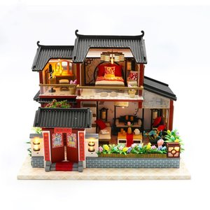 diy big Chinese retro house wooden doll houses bedroom miniature villa dollhouse kast furniture kit jugetes para ninos MX200414