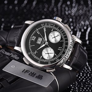 Novo Caso de Aço 42mm Gig Datograph Dígrafo 403.435 Preto Dial Branco Subdial Mão-liquidação Automático Mens Watch Couro Relógios Timezonewatch