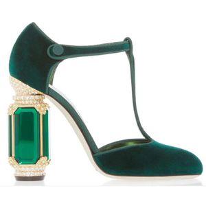 Rhinestone de la joya del diamante del talón terciopelo Mary Janes Pumps Chunky Crystal talón Zapatos de mujer T-correa Bombas Zapatos de vestir para la boda del partido de las mujeres calza