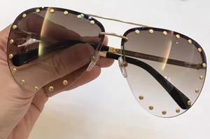Luxo-Mulheres Homens Stud Polit Sunglasses Gold Gradiente Marrom len oversized O Partido Óculos De Sol De Grife Óculos De Sol Novo com Caixa