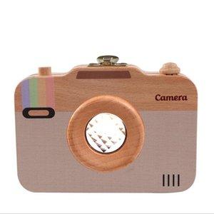 Camera Style Baby Tooth Keepsake Box Wooden First Tooth and Curl Souvenir Container Deciduous Teeth Saver Memory Boxes for Child