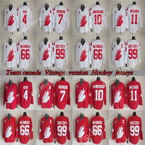 versão do Team Canada Vintage Reminiscência retro camisola 11 Messier 99 Gretzky 4 ORR 1O HAWERCHUK 66 MLEMIEUX 7 BOURQUE CCM camisa hóquei