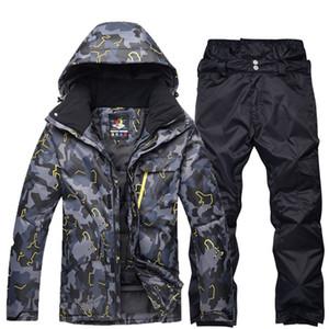 Vêtements de snowboarding professionnel noir gris homme costume de ski ensembles imperméables coupe-vent hiver costumes de plein air manteaux de neige + pantalons