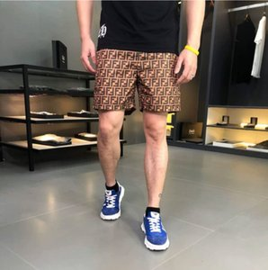 Casual shorts lattice print men's summer jogging board shorts men's quick-drying breathable elastic waist large size beach classic Swim shor