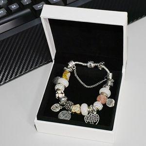Moda charme pulseira pingente de jóias Pandora com prata banhado a caixa original DIY frisado senhoras pulseira CZ diamante em forma de coração de ouro