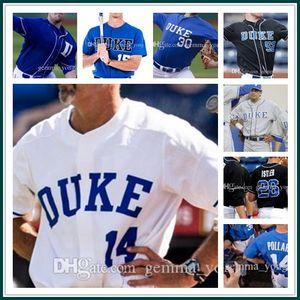 الرجال مخصص ديوك الزرقاء الشياطين NCAA كلية البيسبول 3 كريس كرابتري 7 ماركوس سترومان 9 غريفين Conine 13 ريان يوم 33 آدم Laskey مخيط الفانيلة