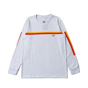 20SS Renkli Çizgili Küçük Harf Baskı Tişört Sweatshirt Moda Kazak Erkekler Kadınlar Çift O-Boyun Casual Klasik Casual HFHLWY186
