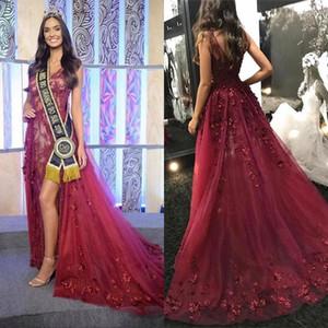 2020 Burgundy V-Ausschnitt Perlen Meerjungfrau Abendkleider Sexy High Slit Vestidos de Fiesta Sweep Zug Formale langes Party Prom Kleid