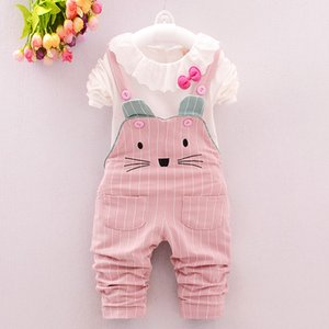 BibiCola Baby Girls Clothing Sets Spring Autumn Girls 2pcs Long Sleeve Blouse+Overalls Pants Clothes Set Girl Tracksuit Clothing