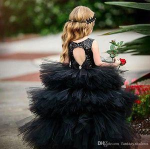 Vestito da ragazza di fiore vestito dalla ragazza di fiore dell'abito di sfera del paillettes del paillettes sveglio nero aperto indietro festa di compleanno della ragazza dell'abito di Pagenat vestiti da cerimonia nuziale della ragazza su ordine