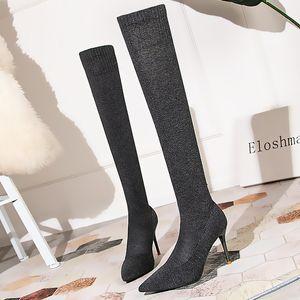 2020 Kadınlar İplik Elastik Over The Diz Çorap Çizme 9cm Yüksek topuk Kış Stretch Kumaş Uzun Çizme Lady Uyluk Striptizci Fetiş Ayakkabı