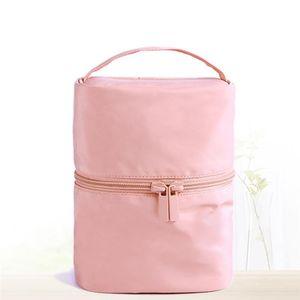 Barrel Shaped Organizer Storage Bag Travel Women Nylon High Capacity Elegant Drum Wash Bags Makeup Cosmetic Bag