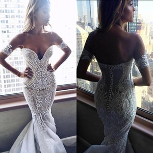 Sexy Nude Ivory Mermaid Wedding Dresses Appliqued Pattern Lace Turkey Dubai Women Long Formal Bridal Gowns Sweetheart Strapless Sweep Train
