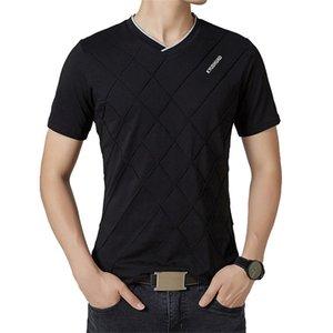 Browon Marca Estate Casual T Shirt Uomo Manica Corta Con Scollo AV Elastico Modello Rombico Uomini Vestiti 2018 Y19060601